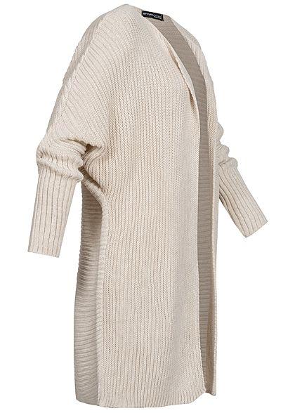 Styleboom Fashion Damen Strickcardigan offener Schnitt beige