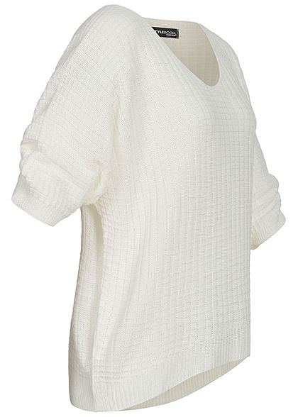 Styleboom Fashion Damen V-Neck Oversized Strickpullover off weiss