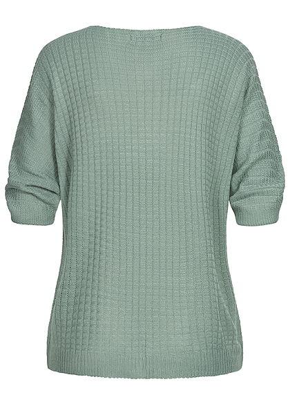 Styleboom Fashion Damen V-Neck Oversized Strickpullover jade grün