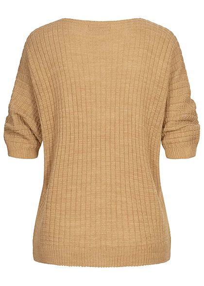 Styleboom Fashion Damen V-Neck Oversized Strickpullover camel braun