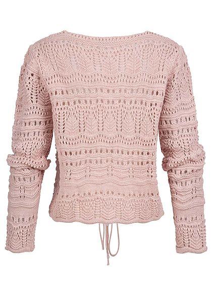 Styleboom Fashion Damen V-Neck Grobstrickpullover Raffung vorne rosa