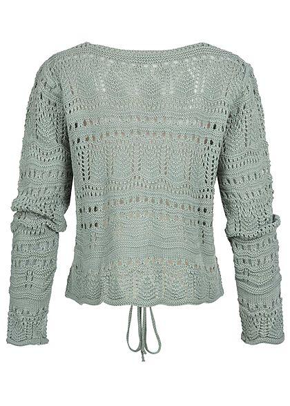 Styleboom Fashion Damen V-Neck Grobstrickpullover Raffung vorne jade grün
