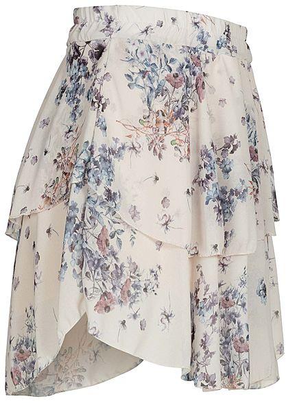 Styleboom Fashion Damen Mini Stufenrock 2-lagig Blumen Muster beige blau