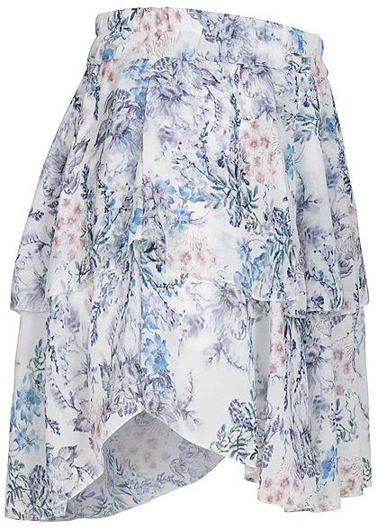Styleboom Fashion Damen Mini Stufenrock 2-lagig Blumen Muster blau weiss