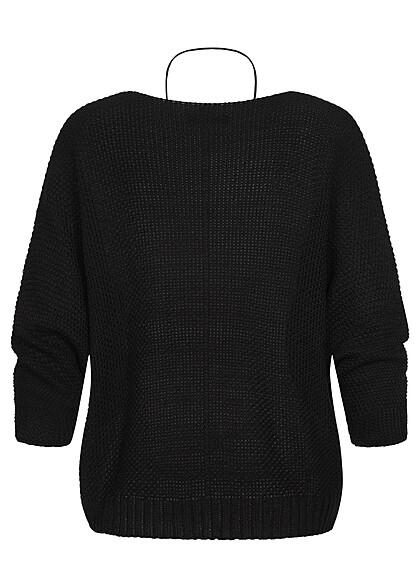 Styleboom Fashion Damen Strickpullover Fledermausärmel inkl. Kette schwarz