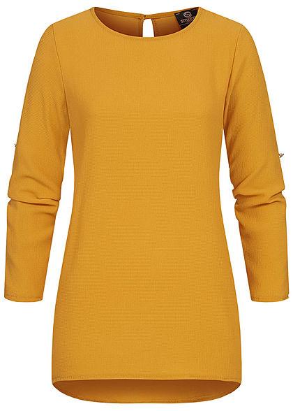 Styleboom Fashion Damen Turn-up Krepp Longform Bluse Vokuhila gelb