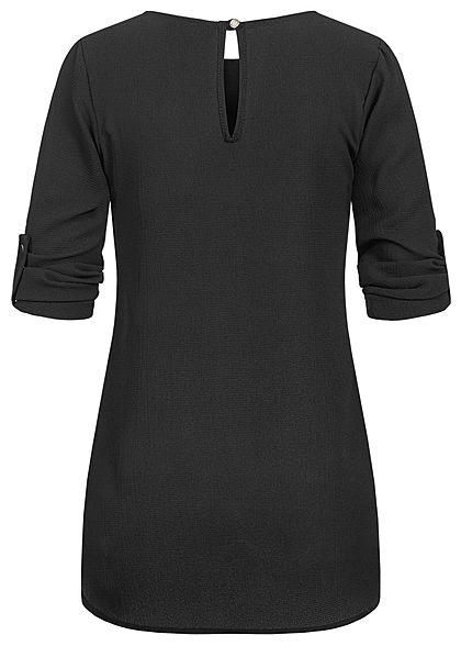 Styleboom Fashion Damen Turn-up Krepp Longform Bluse Vokuhila schwarz