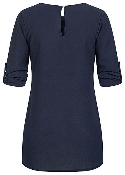 Styleboom Fashion Damen Turn-up Krepp Longform Bluse Vokuhila navy blau