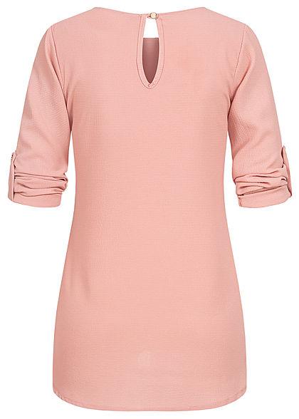 Styleboom Fashion Damen Turn-up Krepp Longform Bluse Vokuhila old rosa