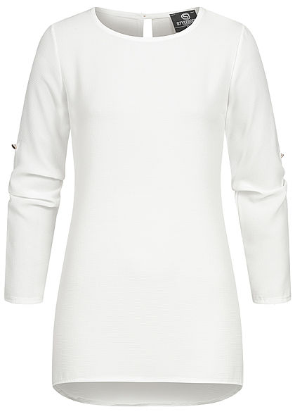 Styleboom Fashion Damen Turn-up Krepp Longform Bluse Vokuhila weiss