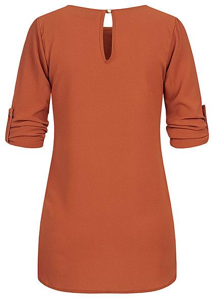 Styleboom Fashion Damen Turn-up Krepp Longform Bluse Vokuhila copper braun