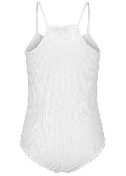 Styleboom Fashion Damen Träger Body Struktur Streifen weiss