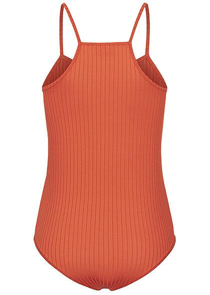 Styleboom Fashion Damen Träger Body Struktur Streifen copper braun