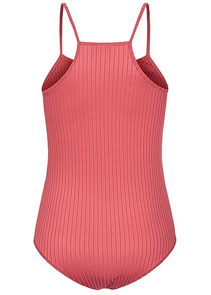 Styleboom Fashion Damen Träger Body Struktur Streifen pepper rot