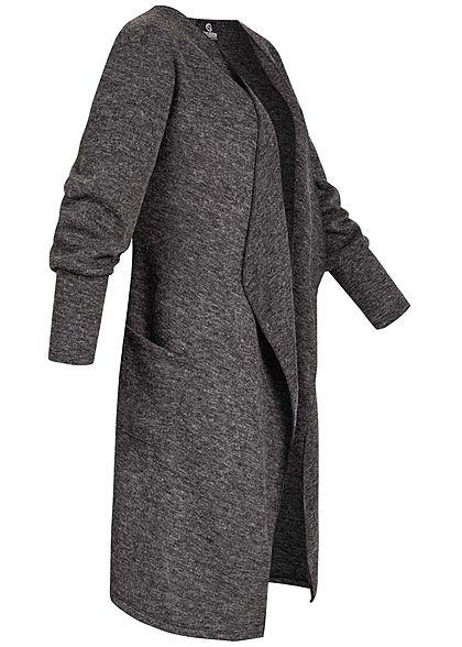 Styleboom Fashion Damen Drapped Longform Cardigan 2-Pockets schwarz