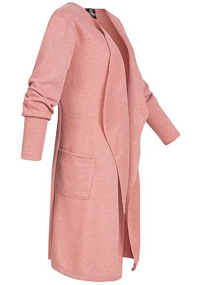 Styleboom Fashion Damen Drapped Longform Cardigan 2-Pockets old rosa