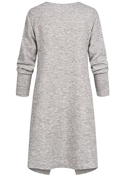 Styleboom Fashion Damen Drapped Longform Cardigan 2-Pockets dunkel grau