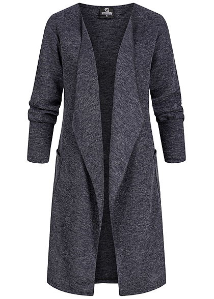 Styleboom Fashion Damen Drapped Longform Cardigan 2-Pockets navy blau