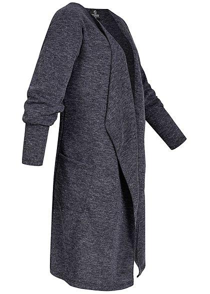 Styleboom Fashion Damen Drapped Longform Cardigan 2-Pockets navy blau
