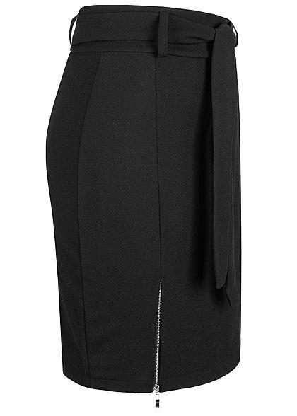 Styleboom Fashion Damen Mini Rock inkl. Bindegürtel Seitenzipper schwarz