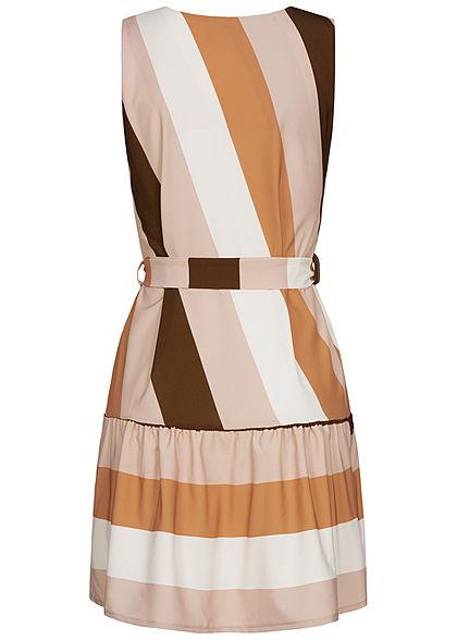 Styleboom Fashion Damen V-Neck Midi Kleid Bindegürtel Streifen Muster beige schwarz