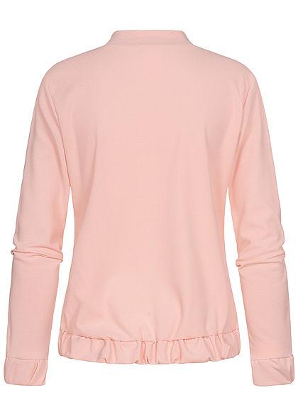 Styleboom Fashion Damen Blouson Rüschendetails rosa
