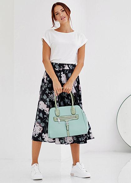 Styleboom Fashion Damen Midi Rock Floraler Print schwarz grün