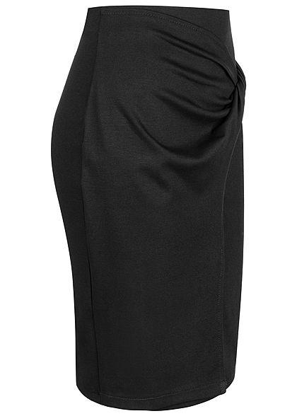 Styleboom Fashion Damen Mini Rock Knotenoptik seitlich schwarz