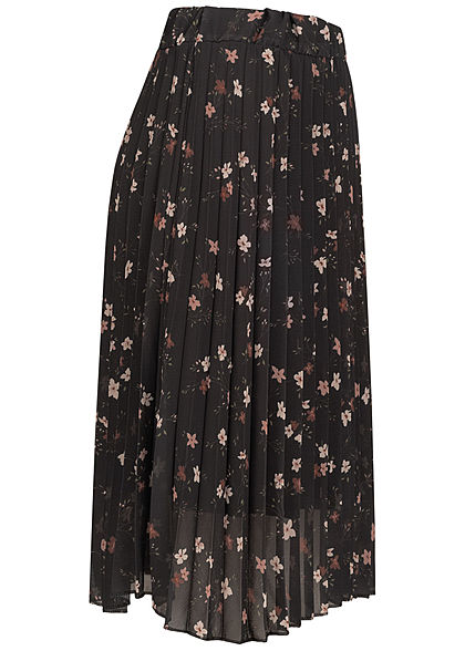 Styleboom Fashion Damen Midi Plissee Falten Rock All Over Blumen Print schwarz