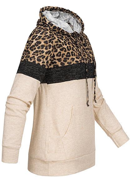 Styleboom Fashion Damen Colorblock Hoodie Leo Print Kängurutasche beige braun