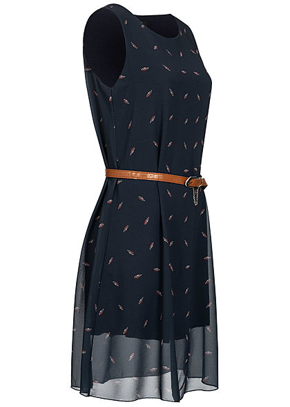 Styleboom Fashion Damen Mini Chiffon Kleid Feder Print inkl. Gürtel 2-lagig navy blau