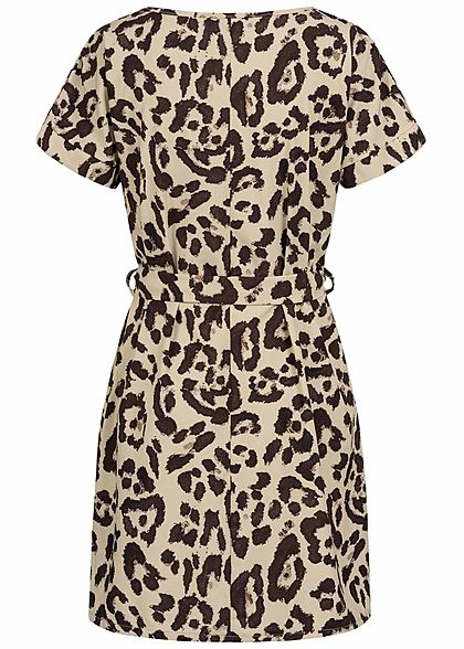 Styleboom Fashion Damen V-Neck T-shirt Kleid inkl. Bindegürtel Leo Print beige