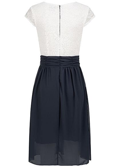 Styleboom Fashion Damen 2-Tone Chiffon Kleid mit inkl. Gürtel 2-lagig navy blau