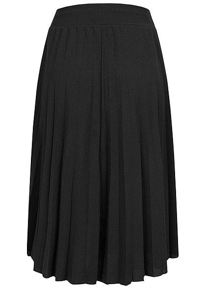 Styleboom Fashion Damen Plissee Midi Falten Rock unicolor schwarz