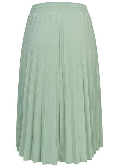 Styleboom Fashion Damen Plissee Midi Falten Rock unicolor jade grün