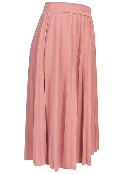 Styleboom Fashion Damen Plissee Midi Falten Rock unicolor old rosa
