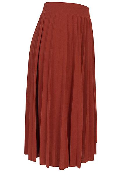 Styleboom Fashion Damen Plissee Midi Falten Rock unicolor copper braun