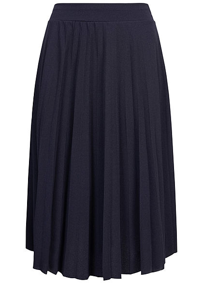 Styleboom Fashion Damen Plissee Midi Falten Rock unicolor navy blau