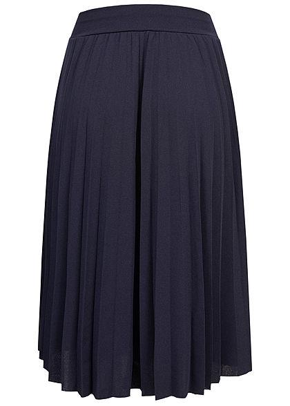Styleboom Fashion Damen Plissee Midi Falten Rock unicolor navy blau