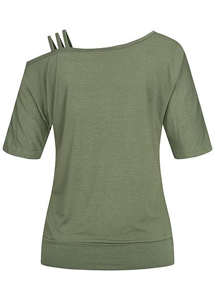 Styleboom Fashion Damen 1/2 Arm Cold Shoulder Shirt 3 Schulterträger oliv grün