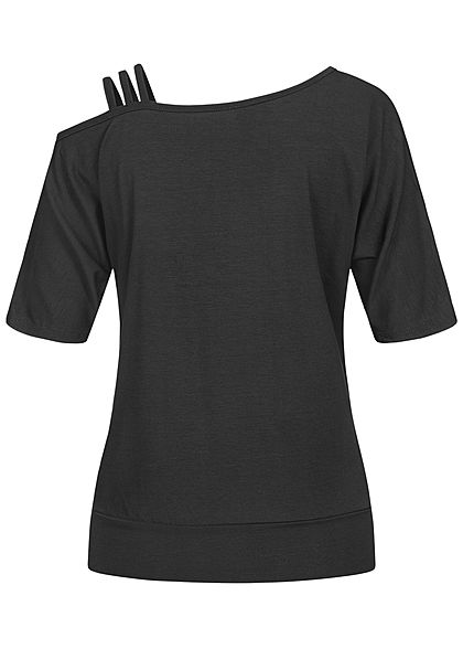 Styleboom Fashion Damen 1/2 Arm Cold Shoulder Shirt 3 Schulterträger schwarz