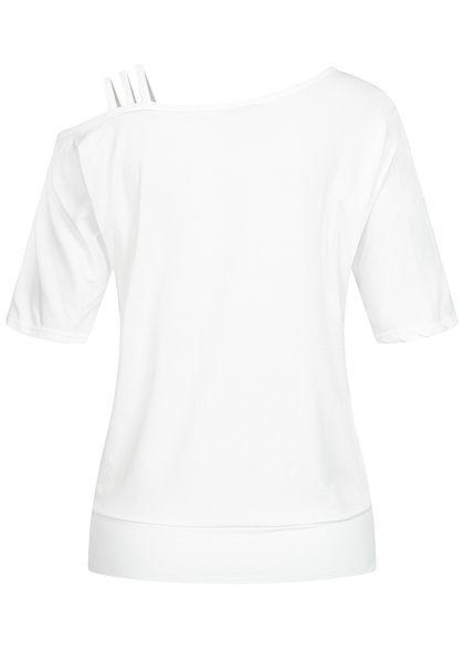 Styleboom Fashion Damen 1/2 Arm Cold Shoulder Shirt 3 Schulterträger weiss