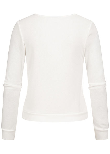 Styleboom Fashion Damen V-Neck Soft Touch Pullover Schnürung vorne weiss