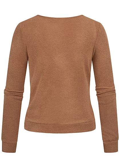 Styleboom Fashion Damen V-Neck Soft Touch Pullover Schnürung vorne camel braun