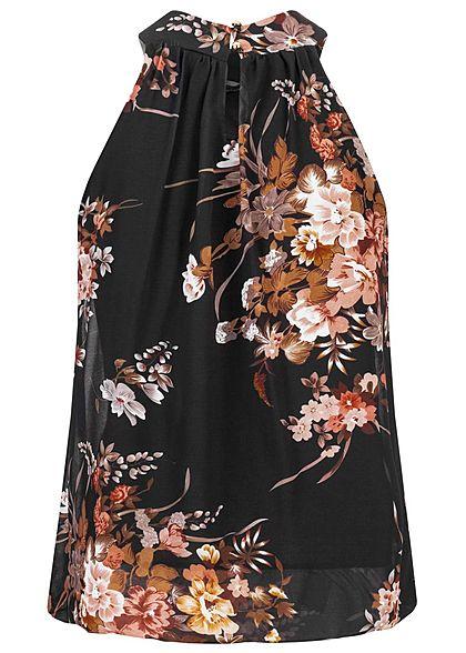 Styleboom Fashion Damen Choker Chiffon Top Blumen Print schwarz rosa
