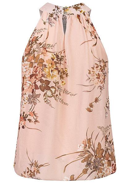 Styleboom Fashion Damen Choker Chiffon Top Blumen Print old rose