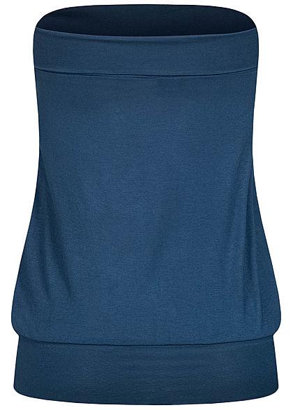 Seventyseven Lifestyle Damen Basic Viskose Bandeau Top breiter Bund navy blau