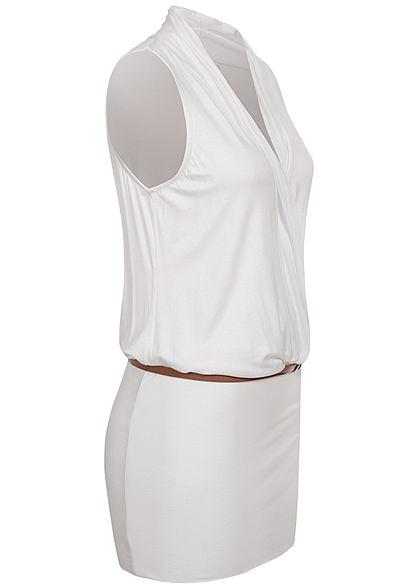 Seventyseven Lifestyle Damen V-Neck Viskose Kleid inkl. Gürtel Wickeloptik weiss