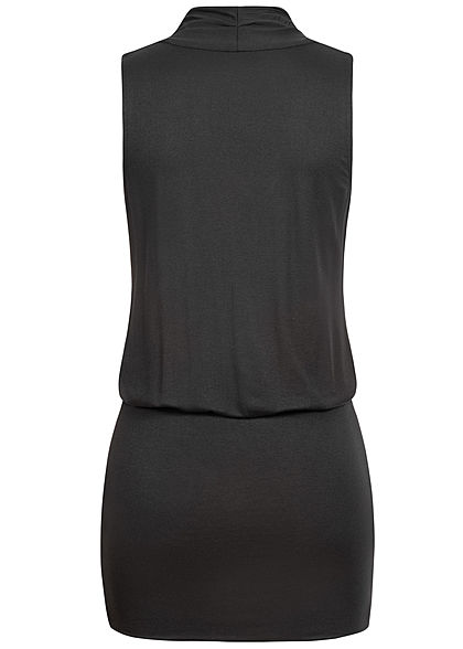 Seventyseven Lifestyle Damen V-Neck Viskose Kleid inkl. Gürtel Wickeloptik schwarz