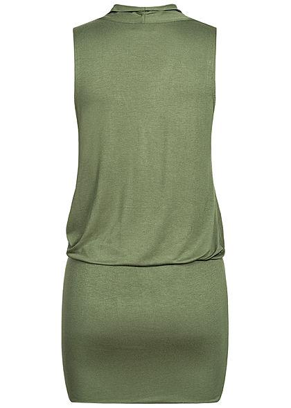 Seventyseven Lifestyle Damen V-Neck Viskose Kleid inkl. Gürtel Wickeloptik oliv grün
